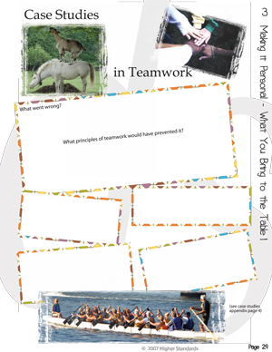 Workbook page about principles of teamwork