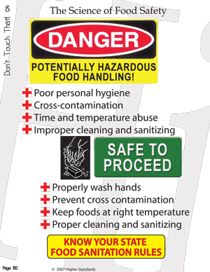 Workbook page teaching food handling safety