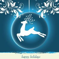 Beautiful white reindeer on background of blue ornament and white embellishments that says Happy Holidays