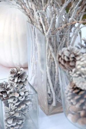 Glass containers filled with pine cones and twigs that have been spray painted white and artfully arranged.