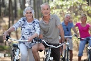 senior couples biking
