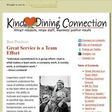 Kind Dining connection newsletter